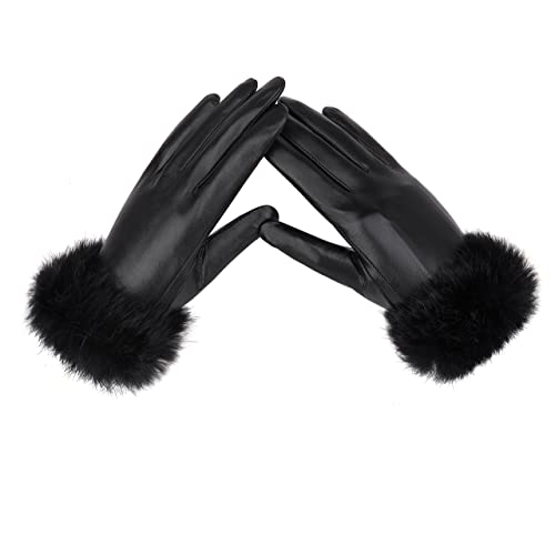 YISEVEN Guantes de las mujeres de piel de cuero genuino de napa de invierno con lujoso manguito de p...
