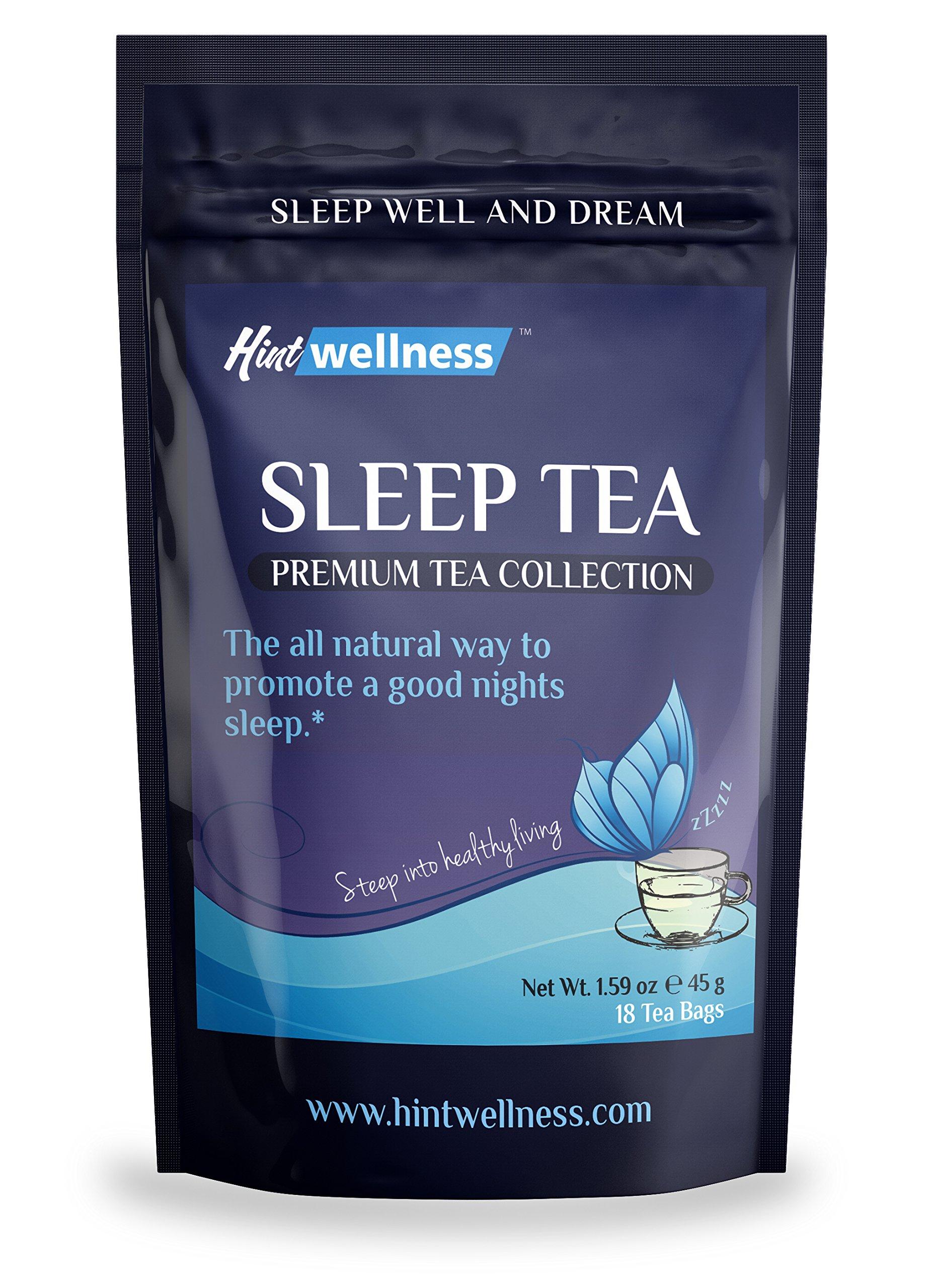 Sleep Tea - Natural Sleep Aid With Valerian Root and Chamomile - Herbal Sleep Aid Tea By Hint Wellness - 18 Tea Bags - 45 g