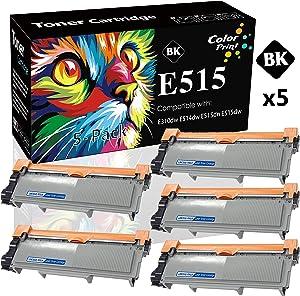 5-Pack ColorPrint Compatible Dell E310dw E514dw E515dw Toner Cartridge Used for Dell E514 E515 E515dn E514dw P7RMX PVTHG 593-BBKD Printer (Black)