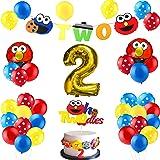 PANTIDE 42Pcs Sesame Birthday Party Decorations Kit - 2nd Elmo Balloons Photo Prop, Sesame Twodles Cake Topper, Elmo…