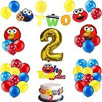 Y1tvei 42Pcs Sesame Birthday Party Decorations Kit - 2nd Elmo Balloons Photo Prop, Sesame Twodles Cake Topper, Elmo…