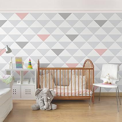 Attrayant Non Woven Wallpaper Premium   No.YK65 Triangles Grey White Pink   Mural Wide