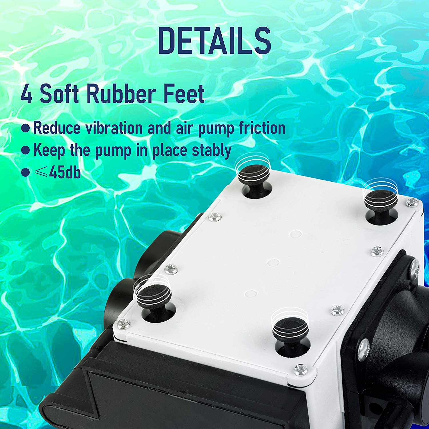 PONDFORSE Hydroponic Air Pump with Air Flow Lever Control Valve 475GPH 20W 30L//min 4 outlets (4mm),0.03MPa
