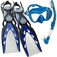 Mares X-Stream Pro–Máscara de buceo aleta Snorkel Set, Azul, X-Small