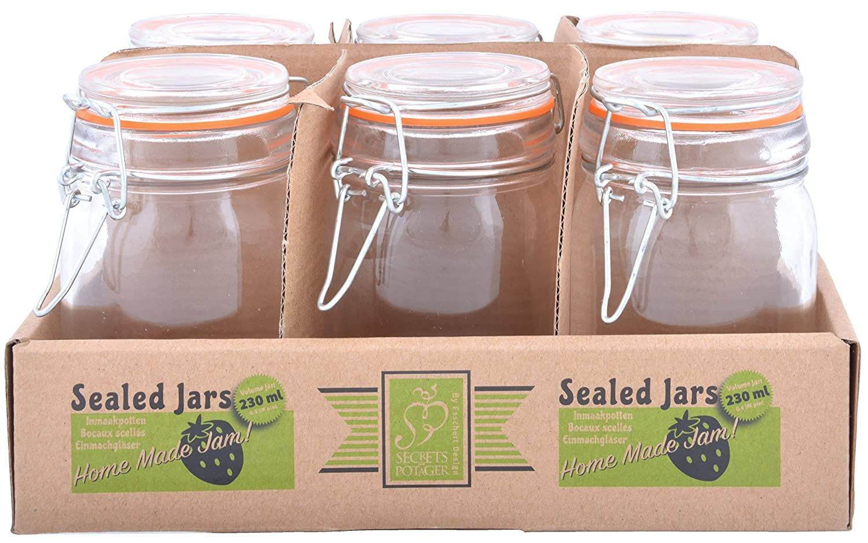 Esschert Design C2052 6 Piece Flip-Top Jar Set, Large, Glass