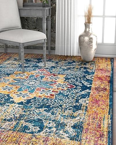 Well Woven Cora Floral Medallion Vintage Blue Area Rug 3×5 3'3″ x 4'7″ Soft Plush Modern Oriental Carpet
