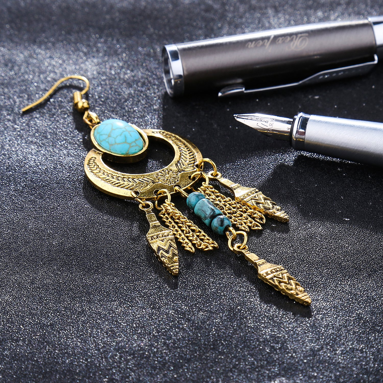 lureme Bohemian Womens Geometry Earrings Turquoise /& Tassel Hook Dangle Earring-Gold Yida er005266-1 er005266