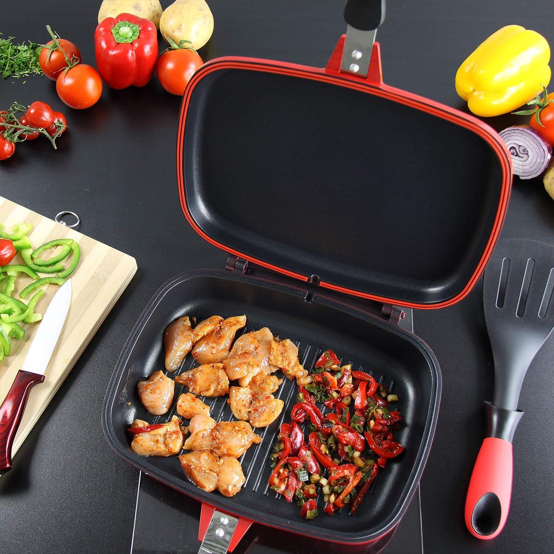 Poêle double face moulée sous pression Magic Grill de 32 cm, couleur rouge:  Amazon.fr: Cuisine & Maison