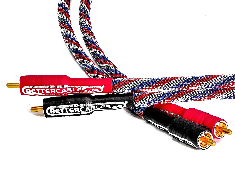 Better Cables RCAケーブル - ステレオペア(2ケーブル) - シルバーサーペント パトリオットエディション オーディオ相互接続ケーブル - ハイエンド、高性能、プレミアムHi-Fiオーディオ 3 feet SS-USA-1-RR 3 feet  B07MH3JHBV