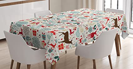 ambesonne christmas tablecloth vintage xmas theme icons hearts jingle bells deer floral details dining