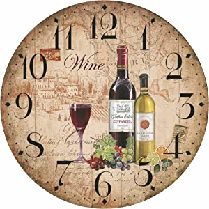 "12"" Retro Vintage Wine Pattern France Style Non-Ticking Silent Wooden Wall Clock Art Decoration."