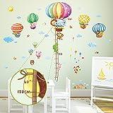 Decowall DM-1606P1406B Ruban Mesureur Montgolfières Animaux Autocollants Muraux Mural Stickers Chambre Enfants Bébé Garderie Salon