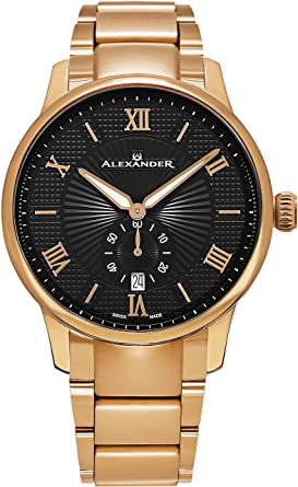 Alexander Statesman Regalia Bracelet Wrist Watch for Men - Black Dial Date Small Seconds Analog Swiss