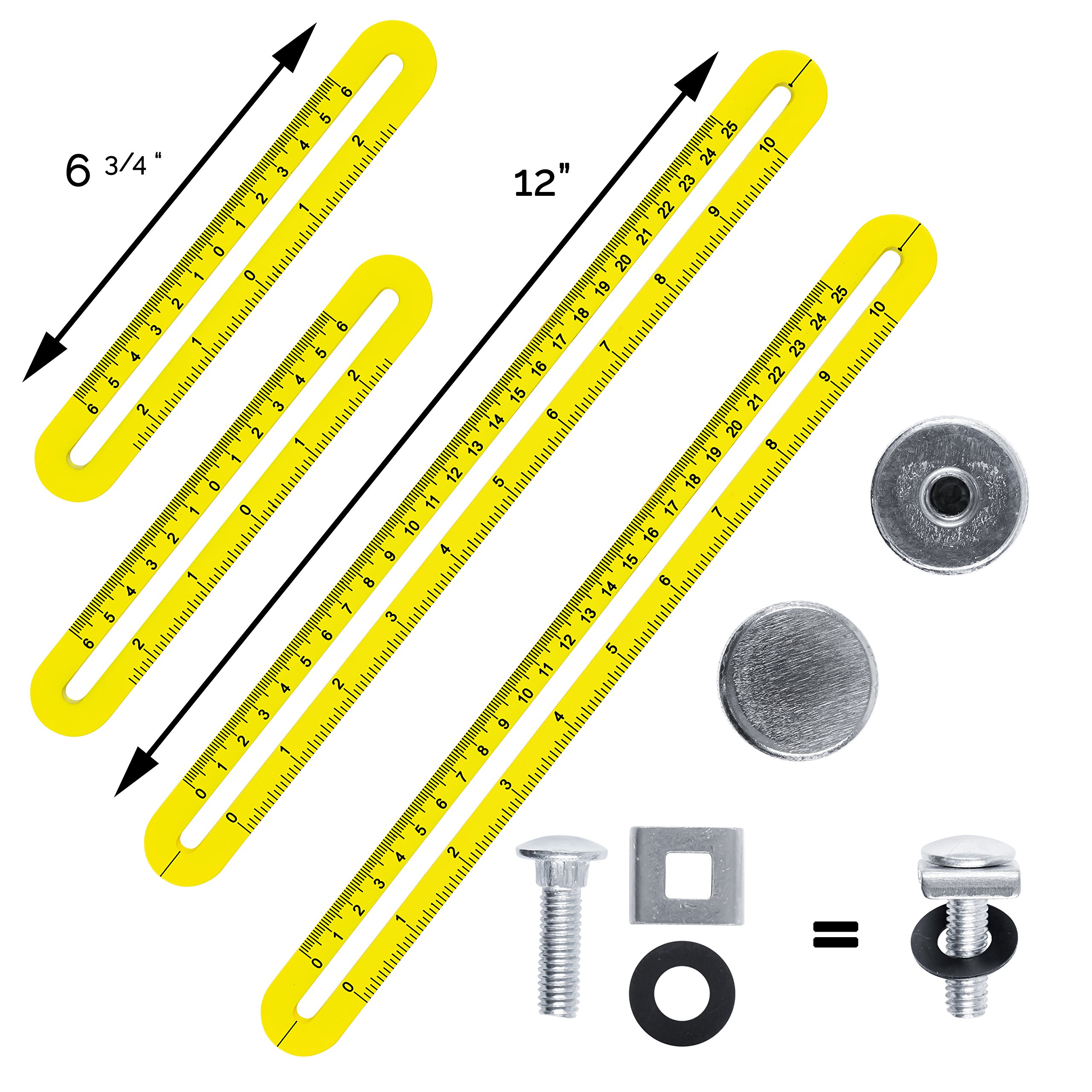 Universal Angularizer Ruler and Multi-Angle Measuring Tool in Yellow Metal - Template Tool Makes Great Gifts for Men Him Husband Dad Father DIY by Premium Rhino (Image #4)