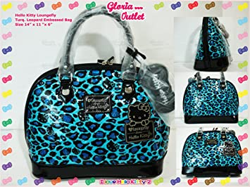 01a82b7bf Amazon.com : Loungefly Hello Kitty Turquoise Leopard Patent Embossed Tote  Handbag Purse SANTB1246 : Beauty