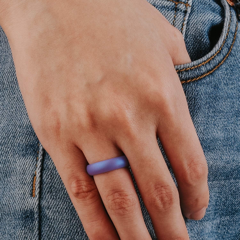 Classical Womens Rubber Wedding Band Weiji Metallic Silicone Wedding Ring for Women