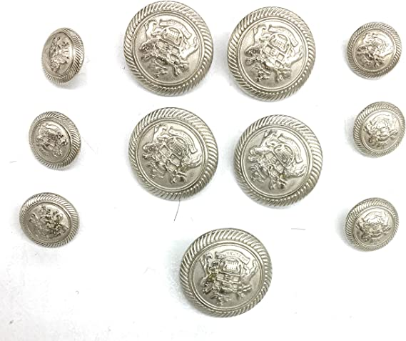 Gold Blazer Buttons 70/'s Crest with metal loop shank heavy duty metal button, Vintage replacement