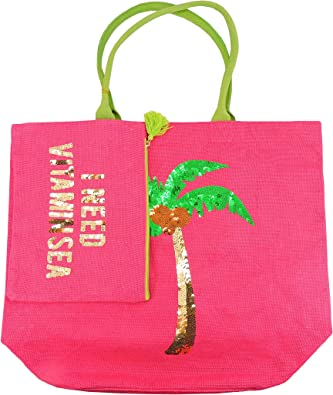Olive /& Hill Jute Tote Bag and Matching Carry-All Clutch Set Pink Palm Tree
