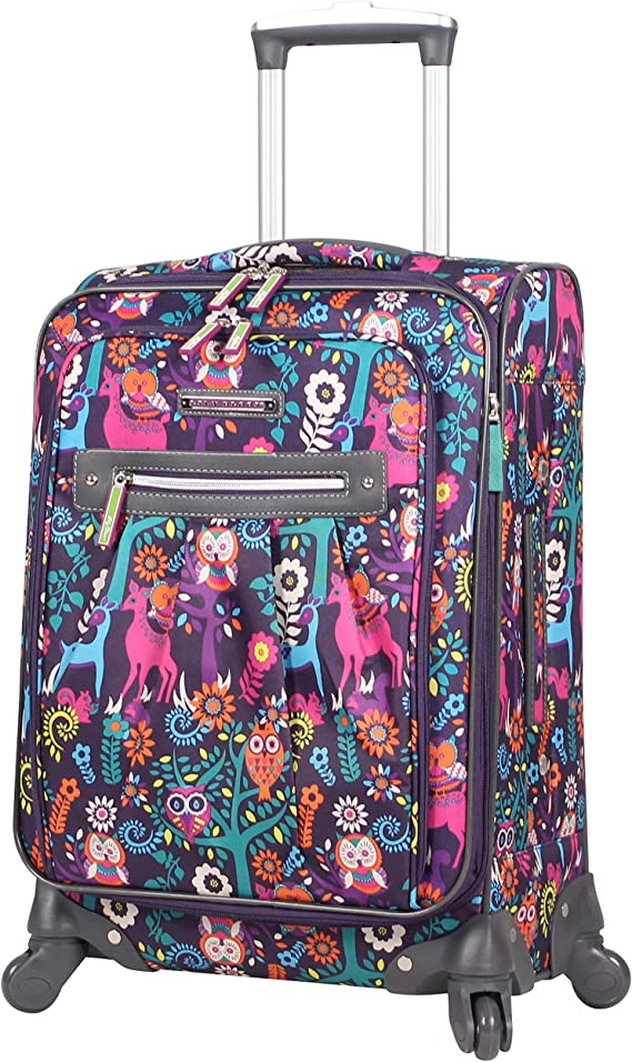 Lily Bloom Carry On Expandable Design Pattern Luggage With Spinner Wheels For Woman (20in