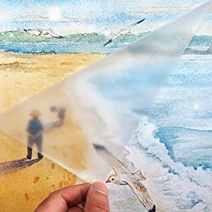 """Clear Matte Adhesive Film Clear Protective Vinyl Book Covering Film for Crafts Transfer Tape Paper Privacy Window Film Self Adhesive Peel and Stick Shelf Liner Drawer Liner 17.7""""x9.8'"""