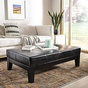 Safavieh Hudson Collection Liam Leather Cocktail Ottoman Black Furniture Decor Amazon Com