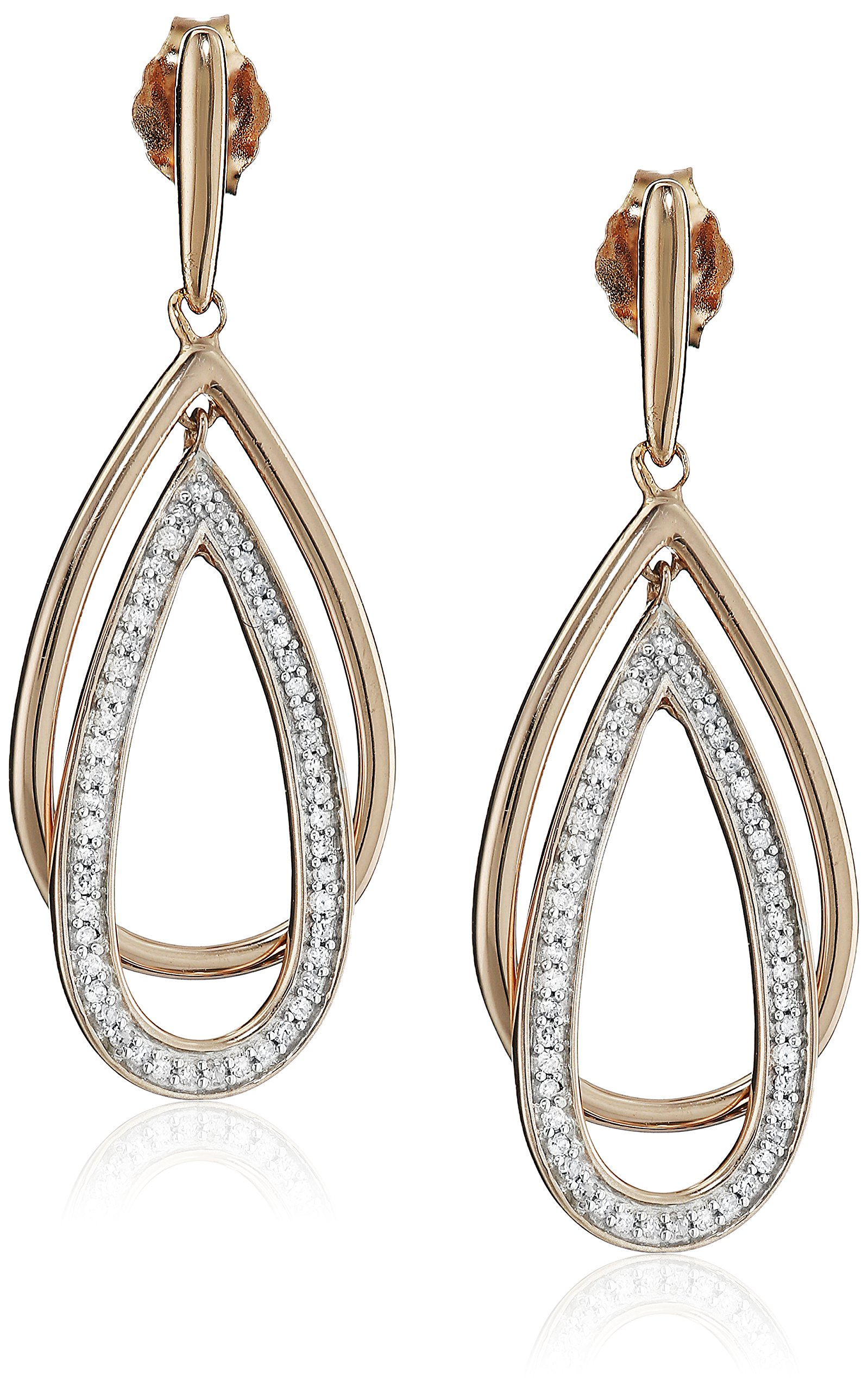 14K Rose Gold over Sterling Silver Diamond Drop Shape Dangle Earrings (1/5 cttw)