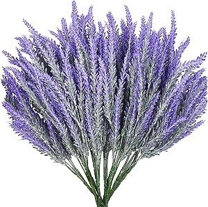 "10 Bundles (Each 14"") Artificial Flowers Lavender Purple Flocked Bouquet DIY Decorative Potted Garden Simulation Flower Wedding Garden Office Decoration (White Seed Flakes Cover"