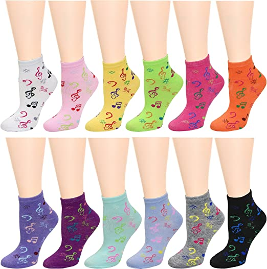 Womens Fun Colorful Crew Sock 6 Packs One Size Music Notes