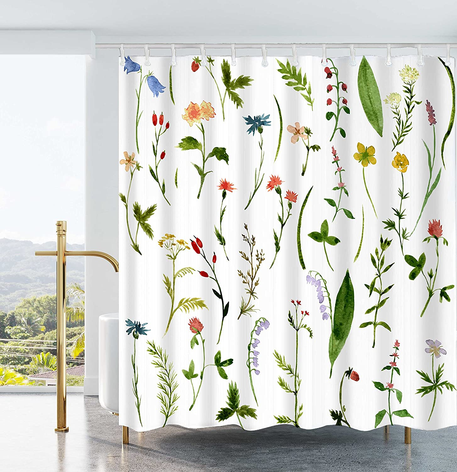 Amazon Ao Blare Leaves Plants Shower Curtain Bloom Flower Green Waterproof Polyester Fabric 72x72Inch Home Kitchen