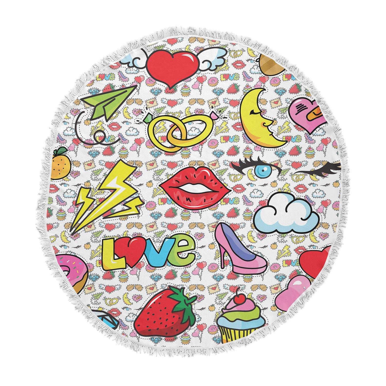 Kess InHouse Shirlei Patricia Muniz Retro Yellow Digital Abstract Round Beach Towel Blanket