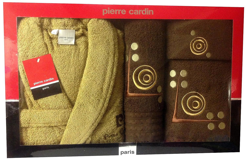 L/XL Marrón y Beige L círculos Pierre Cardin 4 piezas Albornoz y toalla juego, bordado, marrón líneas de oro redondo de lunares - 100% algodón funda ...