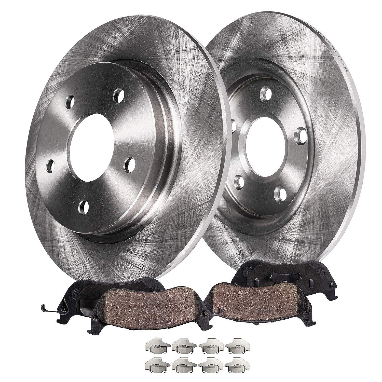 05-09 Tucson FWD 06-08 Sonata 2.4L 5-LUG Rear Disc Brake Rotors /& Ceramic Pads w//Clips Hardware Kit Premium GRADE for 05-10 KIA Optima Detroit Axle 05-10 KIA Sportage FWD