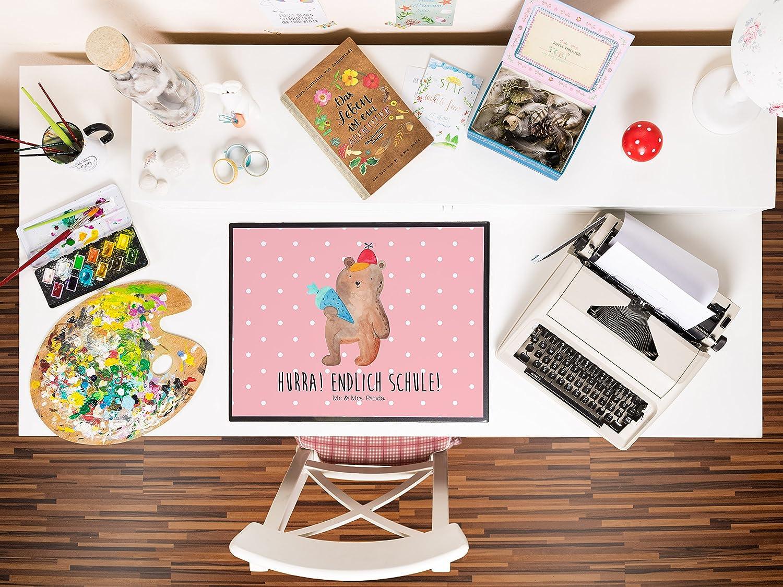 Mr Panda Schreibtisch Unterlage Schreibtischunterlage B/är mit Schult/üte mit Spruch /& Mrs Farbe Blau Pastell