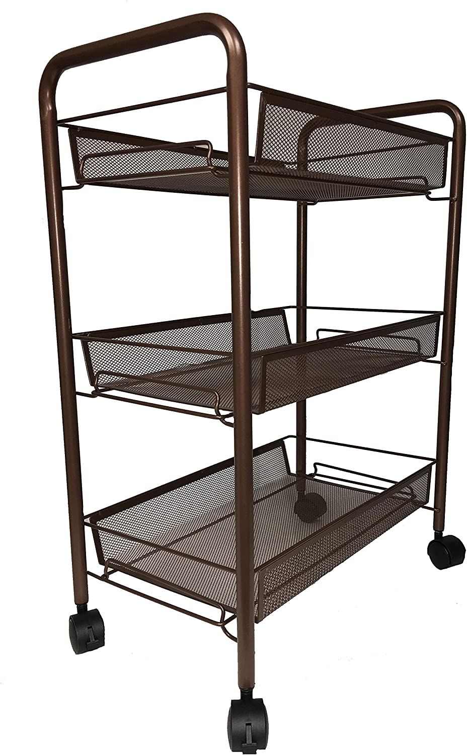 BonBon 3-Tier Wire Mesh Rolling Cart for Serving Utility Organization Kitchen Cart with Portable Metal Handle Easy Moving Flexible Wheels – Bronze