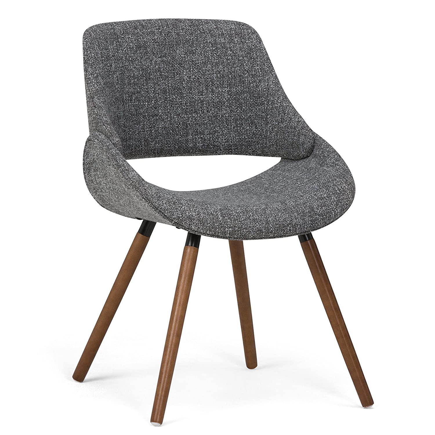 Simpli Home AXCMALN-G Malden Mid Century Modern Bentwood Dining Chair in Grey Woven Fabric
