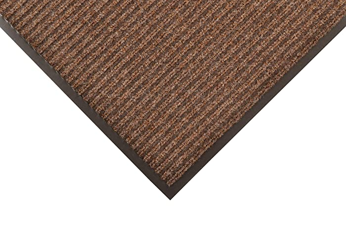 "NoTrax 117 Heritage Rib Entrance Mat, for Lobbies and Indoor Entranceways, 3' Width x 6' Length x 3/8"" Thickness, Brown"