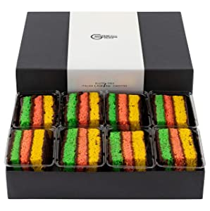 RAINBOW COOKIES GIFT BOX | 8 Mouthwatering Rainbow Cakes, Individually Wrapped | INDEPENDENCE DAY GIFT BASKET | Delicious Italian Cookies | Healthy Sweets | Dairy Free, Gluten Free Cookies Kosher | COOKIES GIFT BASKET