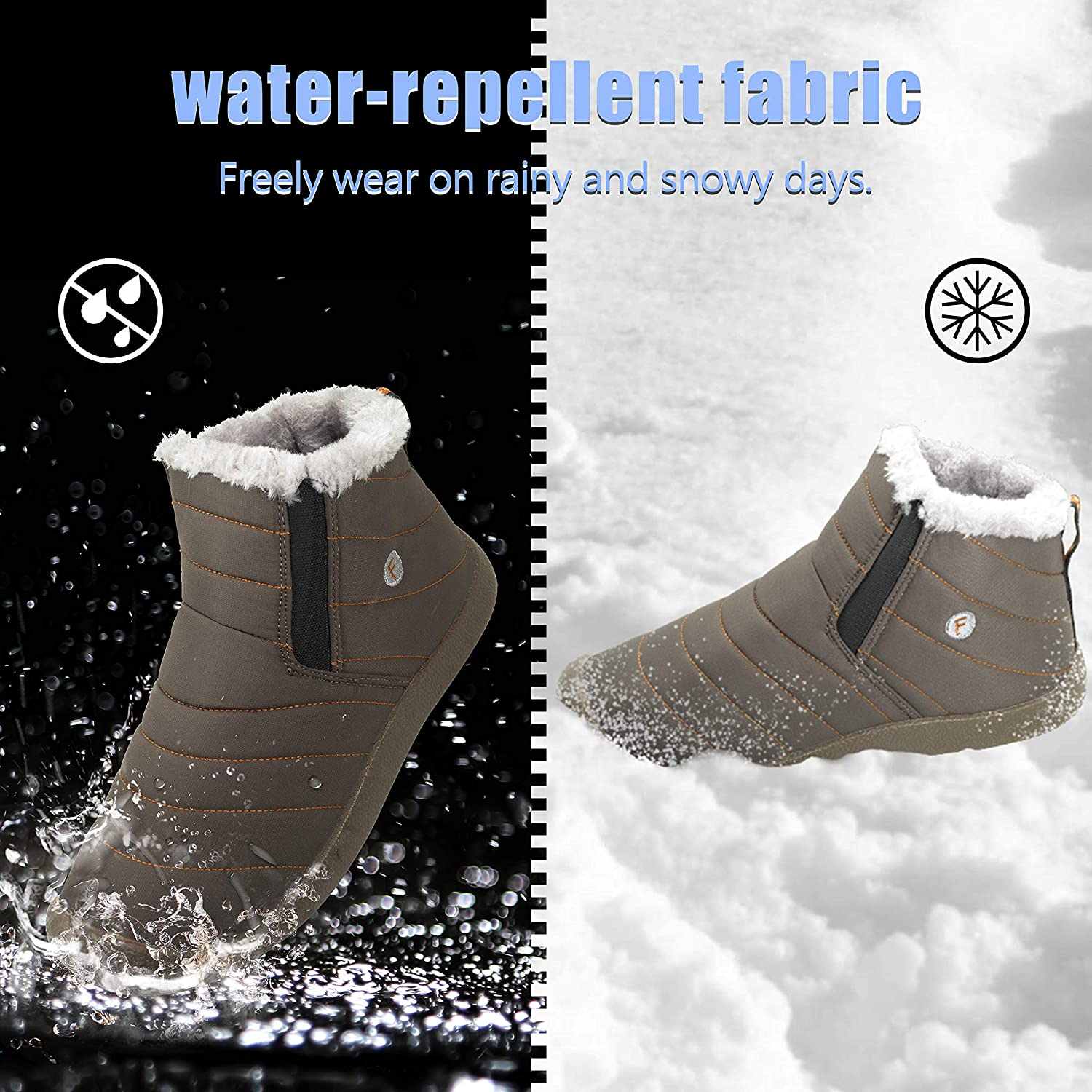 NEW-Vi Winter Snow Boots,Warm Ankle Boots Slip-on Water Resistant Booties Men Women,Lightweight Winter Shoes Full Fur