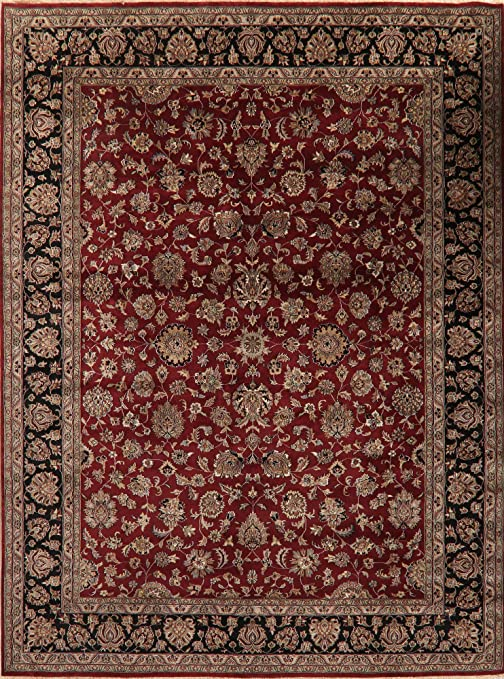 Amazon Com Agra Oriental Area Rug Hand Knotted Wool All Over Floral Carpet 9 X 12 Burgundy Kitchen Dining