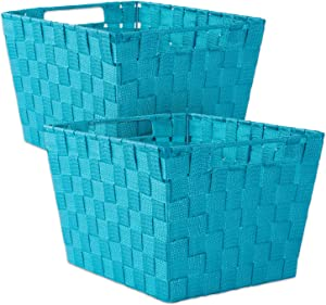 "DII Durable Trapezoid Woven Nylon Storage Bin or Basket for Organizing Your Home, Office, or Closets (Large Basket - 13x15x10"") Teal - Set of 2"
