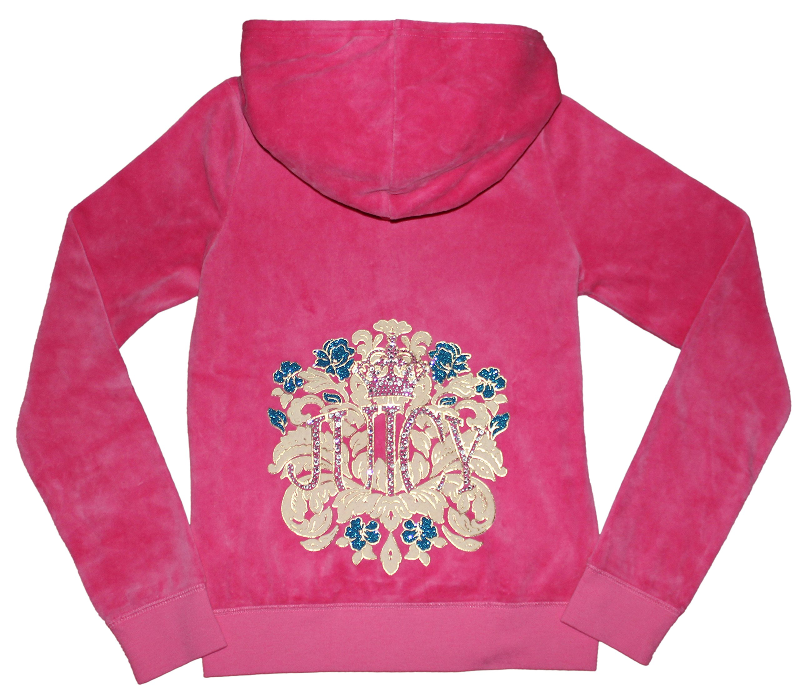 Juicy Couture Girls Embellished T-shirt or Velour Hoodie (X-Large 12-14 Pink Hoodie) by Juicy Couture
