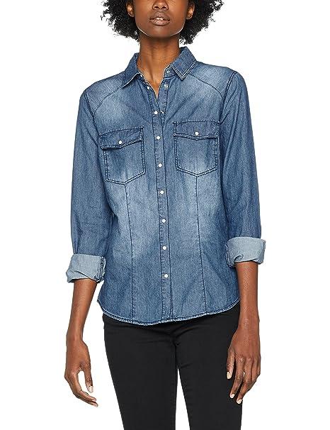 PIMKIE CH W16 ETIPA, Camisa de Manga Larga para Mujer, Azul (Jean A0B