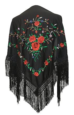 3e1e5198f794d La Señorita Mantones bordados Flamenco Manton de Manila negro con rosas rojo   Amazon.es  Ropa y accesorios