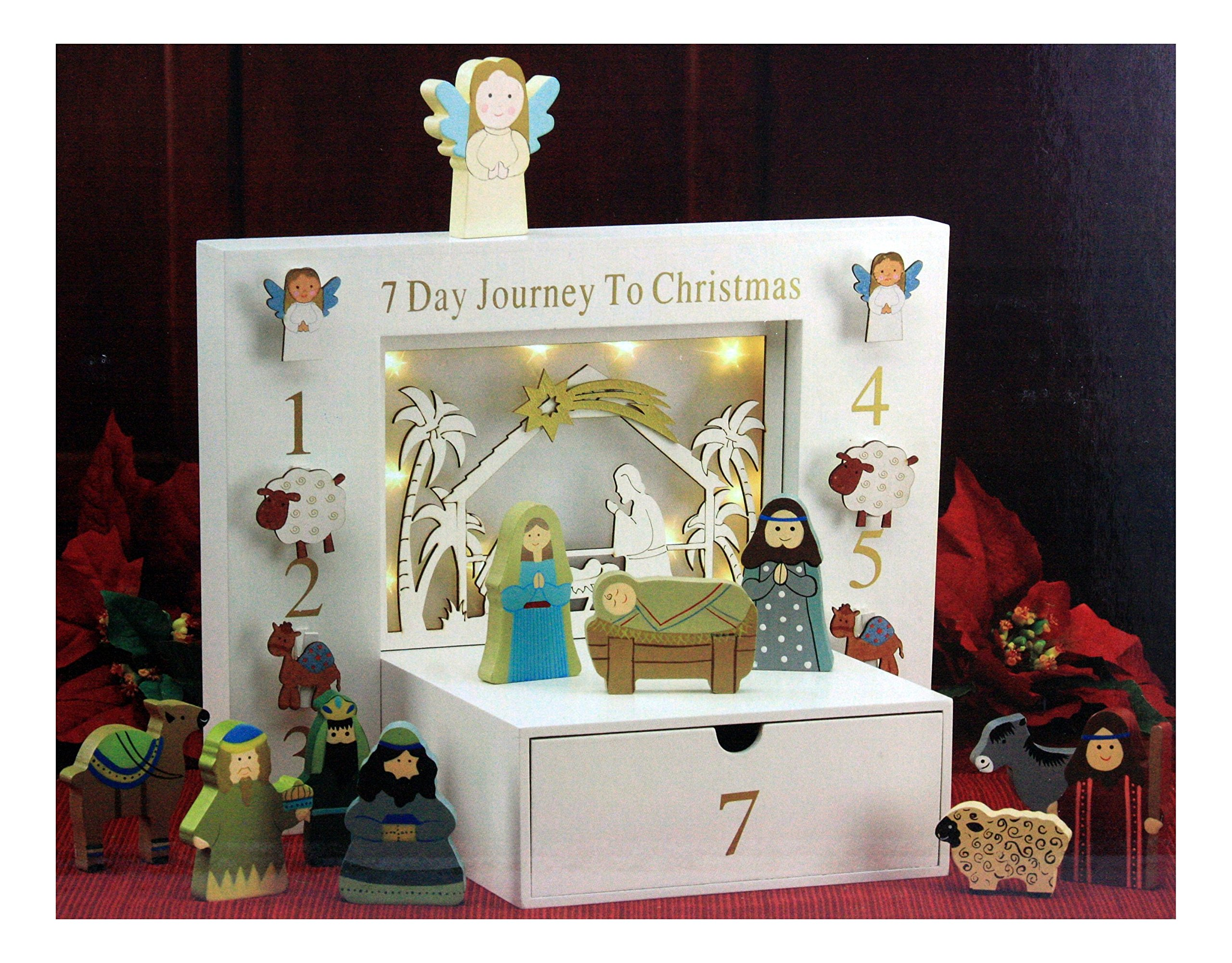 THREE KINGS GIFTS THE ORIGINAL GIFTS OFCHRISTMAS 7 Day Journey to Christmas Children's Interactive Wood Block Nativity 12 Piece Set