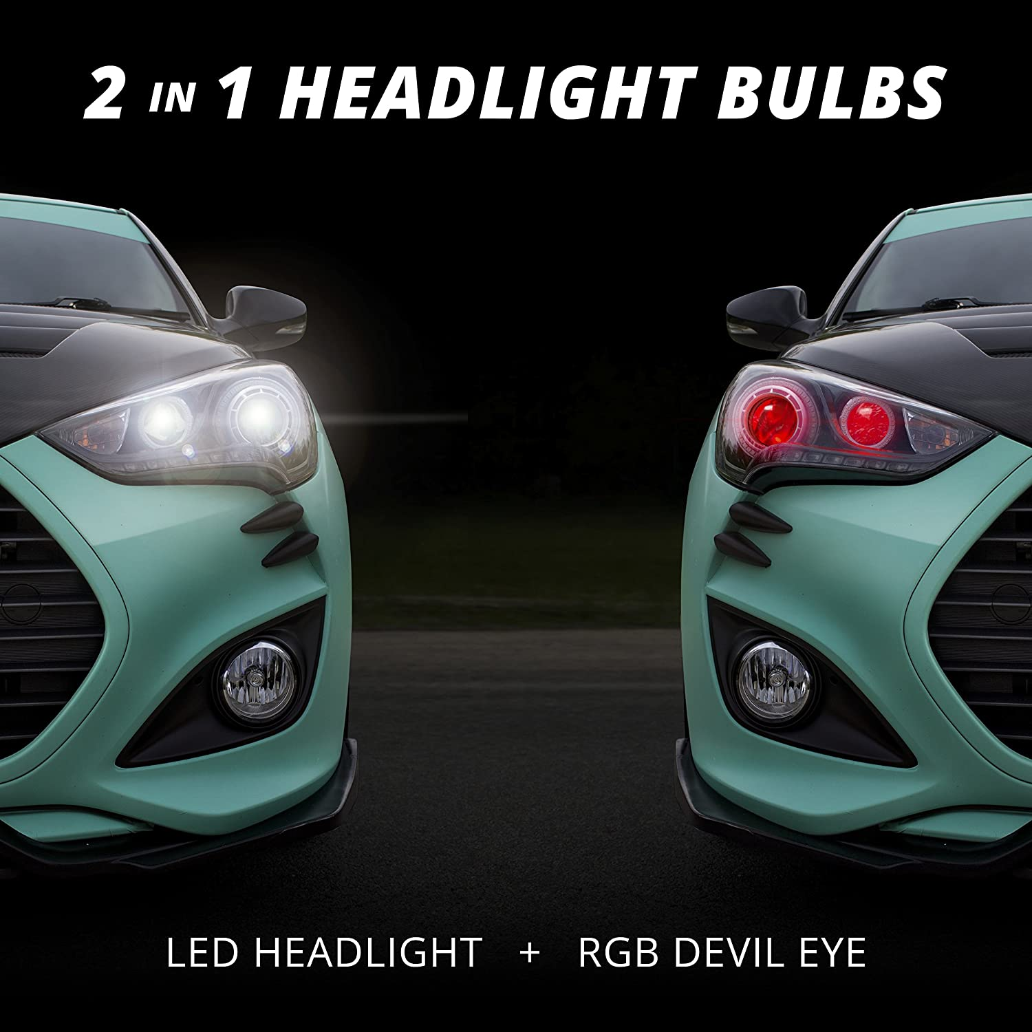 H11 2in1 Led Headlight Bulb Kit Xkchrome Smartphone Would Check Voltage Coming Out Of The Head Light Switch App Enabled Bluetooth Rgb Devil Eye Conversion Automotive
