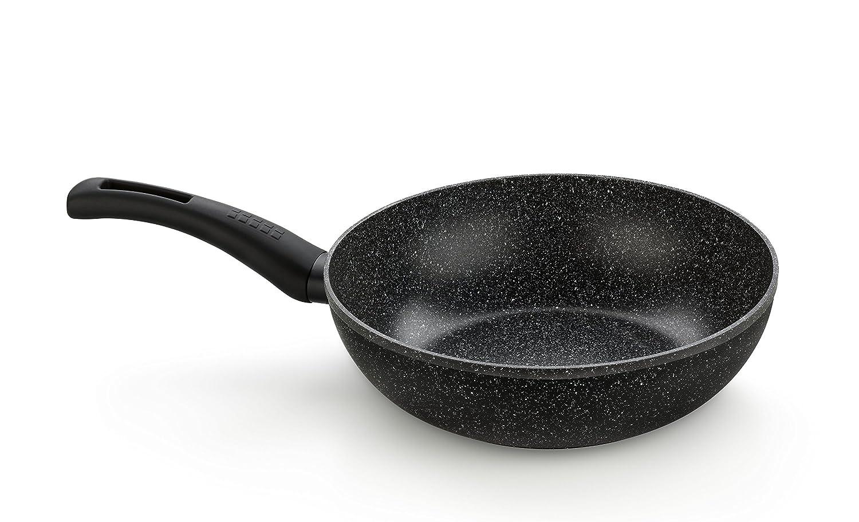 Monix Wok para saltear, Aluminio, Gris Oscuro Antracita, 28 cm