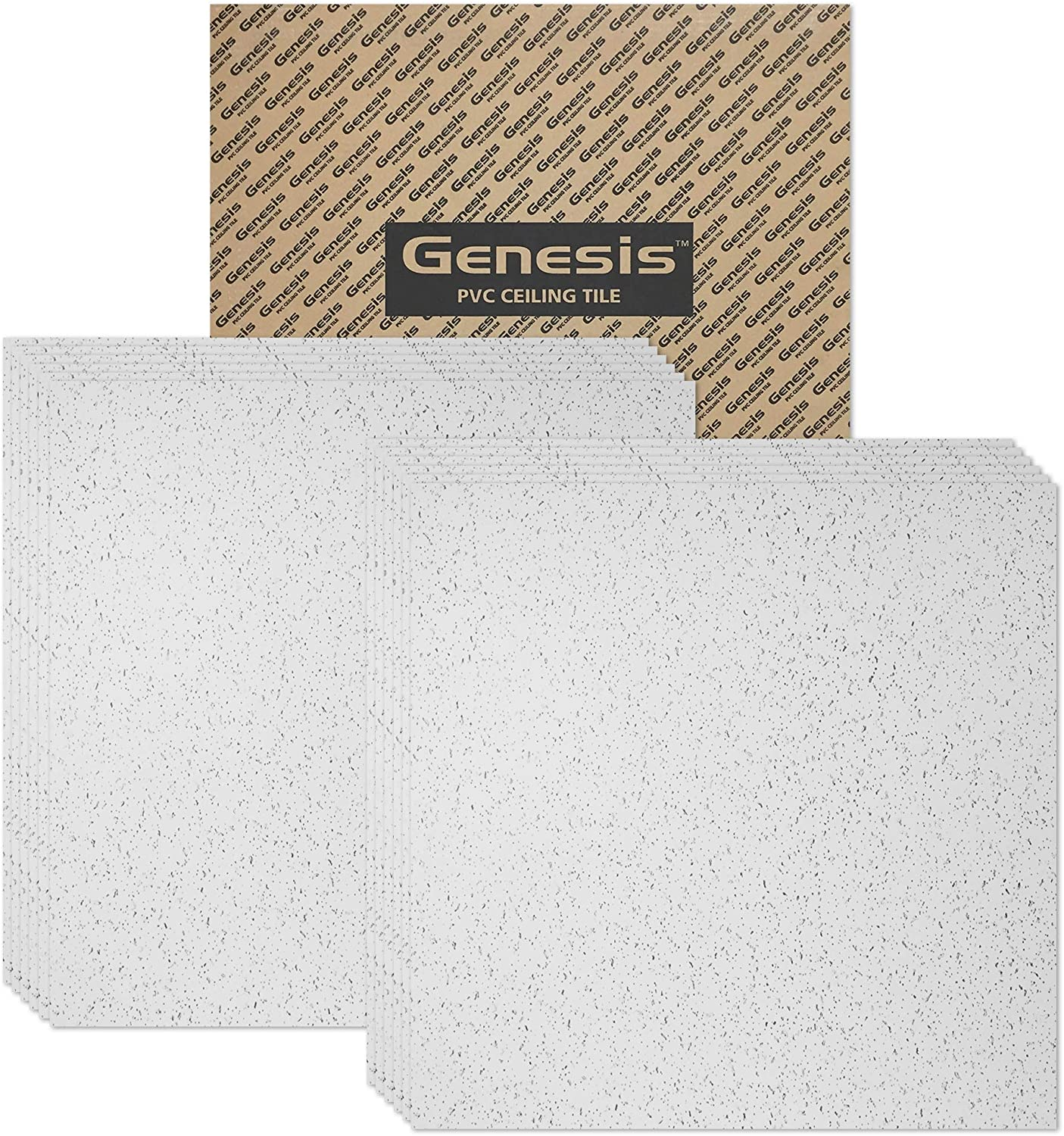 Genesis 2ft x 2ft Printed Pro Ceiling Tiles - Easy Drop-in Installation – Waterproof, Washable and Fire-Rated - High-Grade PVC to Prevent Breakage - Package of 12 Tiles