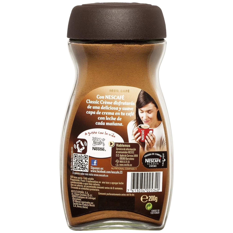 NESCAFÉ Café Classic Soluble Crème, Bote de cristal, Paquete de 6x200g de Café - Total: 1.2 kg: Amazon.es: Alimentación y bebidas