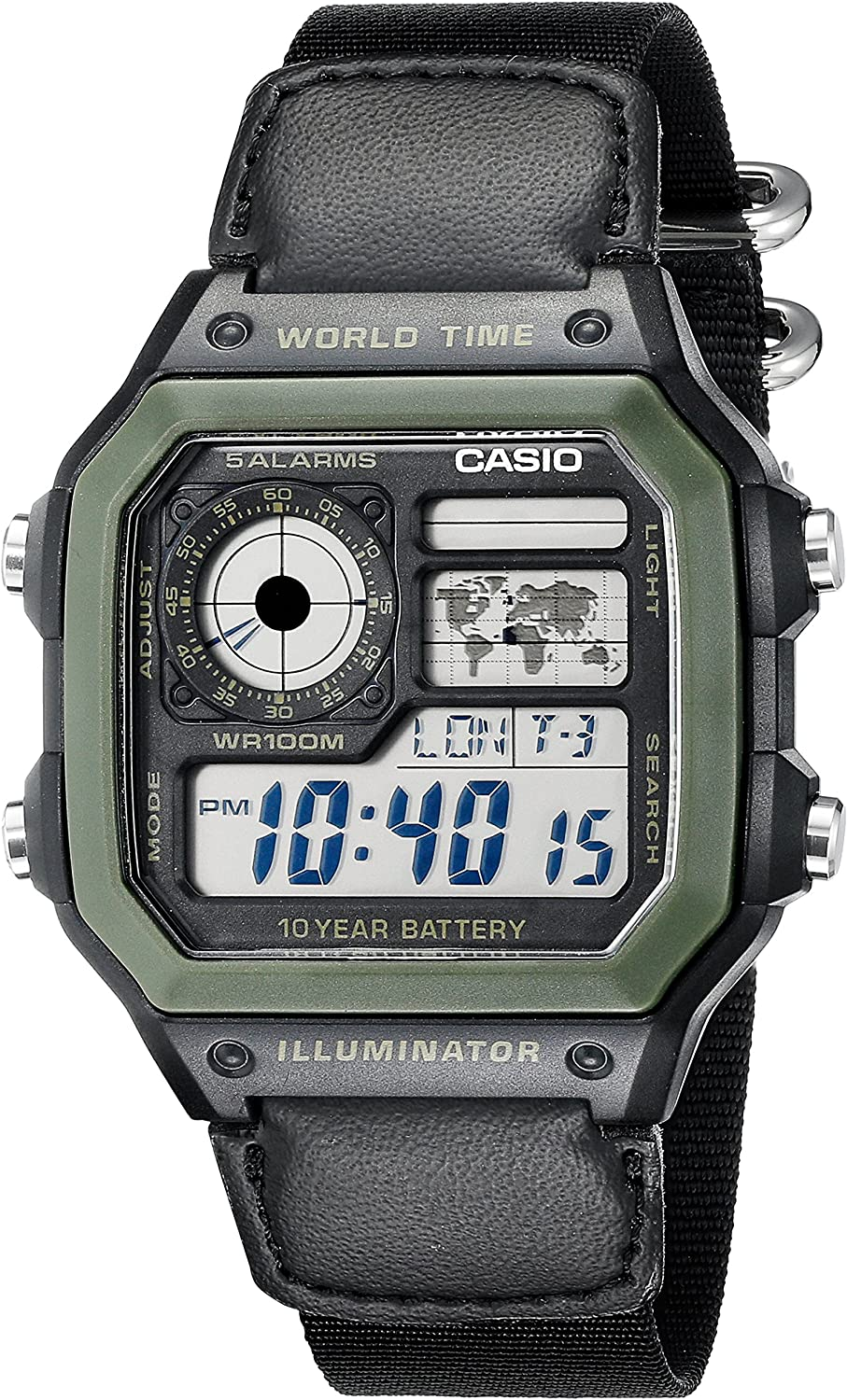 Casio Men's AE1200WHB-1BV Black Resin Watch with Ten-Year Battery