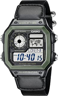 Casio Mens AE1200WHB-1BV Black Resin Watch with Ten-Year Battery